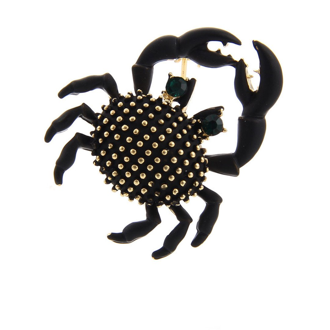 MLXZ Cute Crabs Brooch Enamel Animal Corsage Pins Kids Women Shirt Coat Clips Black Brooches Clothes Accessories Jewelry CC18406A