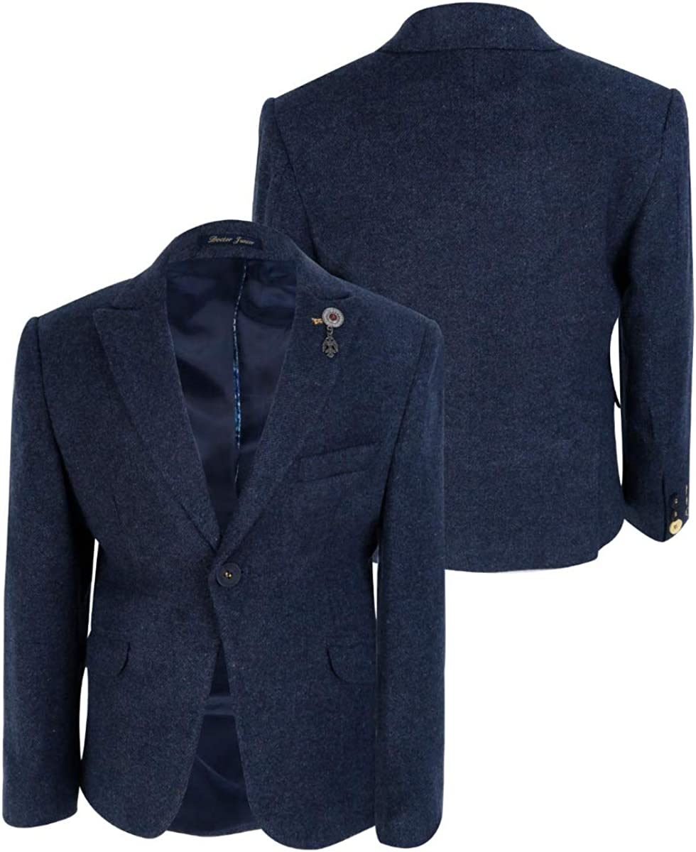Boys Tailored fit Cashmere Wool Blend Blazer Double Breasted Waistcoat Set