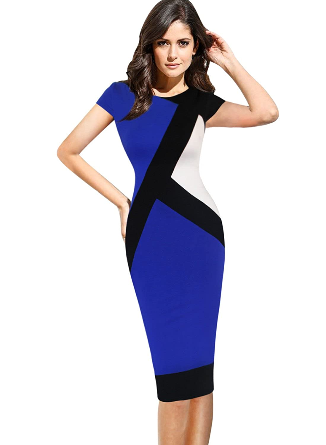 d6959f34120 Top5: VfEmage Womens Elegant Optical Illusion Contrast Wear to Work Dress