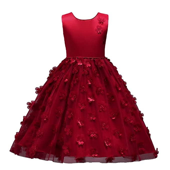 82c2b86cc ADHS Kids Baby Girl Summer Casual Vintage Cute Lovely Pretty Red Dresses (Burgundy,2