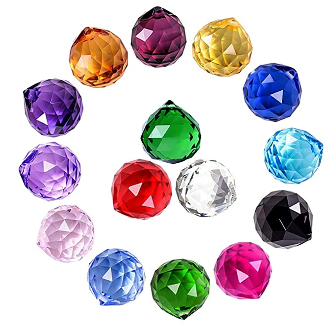 MerryNine Mixed Colorful Crystal Ball Prism with Drilled Hole Suncatcher Rainbow Pendants Maker, Hanging Crystals Prisms for Windows, for Feng Shui, for Gift(PrismBall-30mm Colorful)