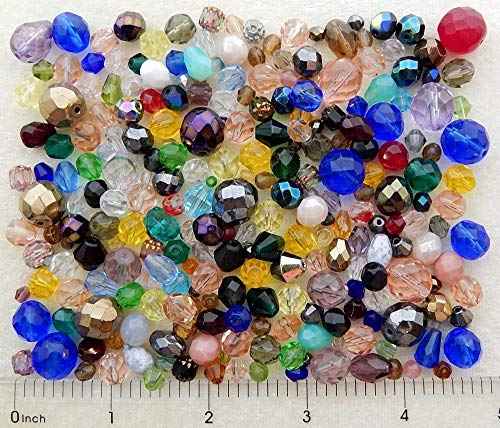ng 1/4 Pound Lb 100% Pressed Fire Polished Czech Glass Assorted Mix Beads ()