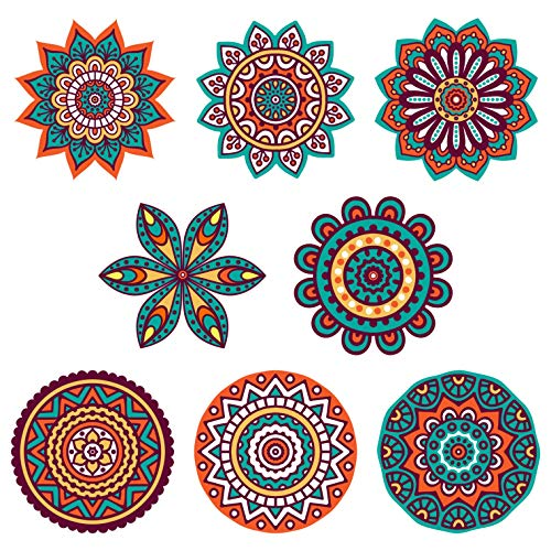 (Boho Decor :: Mandala Sun Catchers Window Clings (Set of 8) :: Stained Glass Window Art Decal/Cling :: Suncatchers for Windows Decoration :: Hippie Decor :: (Size :: 5.75