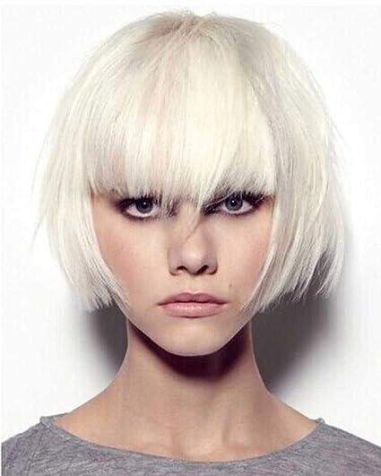 Elegante peluca melena corta, recta, color blanco de Falamka
