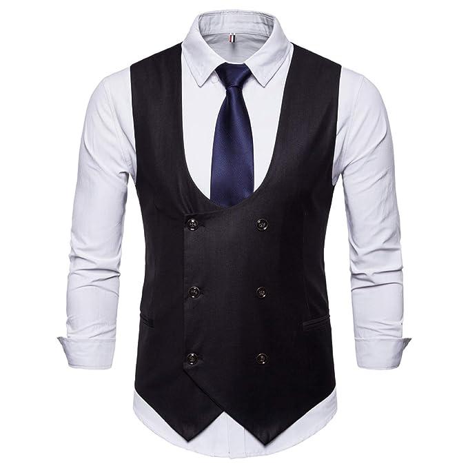 Amazon.com: HSLS - Chaleco formal para hombre con doble ...