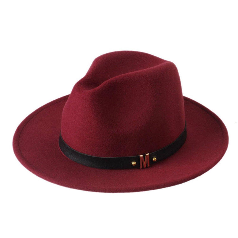 Women Men Unisex Fashion Blower Fedora Wool Felt Jazz Dance Sun Hat Trilby Derby Leather Band Gangster Cap 57-58cm,OneSize,Wine