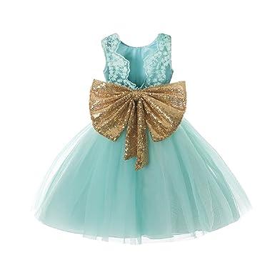 Green & Golden Bow Toddler Baby Girl Dresses Fluffy Tutu Wedding ...