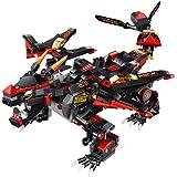 Fcostume DIY Bausteine zu Fuß RC Smart Dinosaurier Elektronische Roboter Spielzeug für Kinder B (Schwarz)