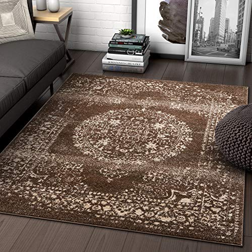 Well Woven Palmetto Medallion Brown Vintage Distressed Oriental Area Rug 8x11 (7'10