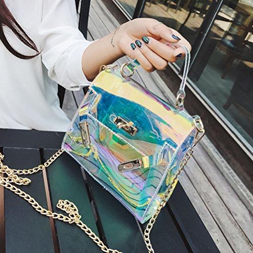 Tinksky Holographische Handtasche Kupplung Laser Tote Bag Schultertasche Shining Cross Body Bag mit Ketten Chic Pouch Handtasche für Party Shopping