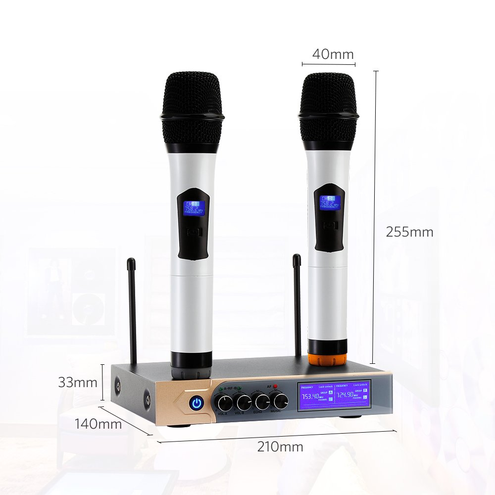 UHF Wireless Microphone System, Dual Handheld Karaoke Microphone with 2 Handheld Mics for Home KTV,Church,Small karaoke Night, Outdoor Wedding, Conference, Speech by Tsumbay (Image #2)