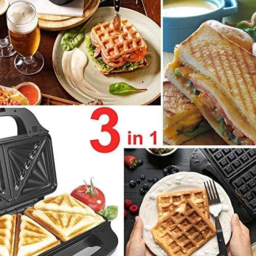 3 in 1 Macchina per Waffle elettrica per panini in Ferro Macchina per panini Antiaderente con Bolle di Uova Torta Forno per cialde per Colazione