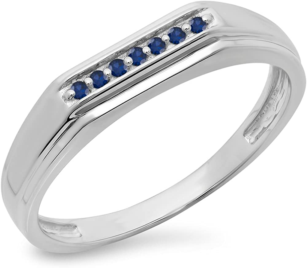 Dazzlingrock Collection 0.10 Carat Round Cut Blue Sapphire Mens 7 Stone Stackable Wedding Band 1//10 CT Sterling Silver ctw