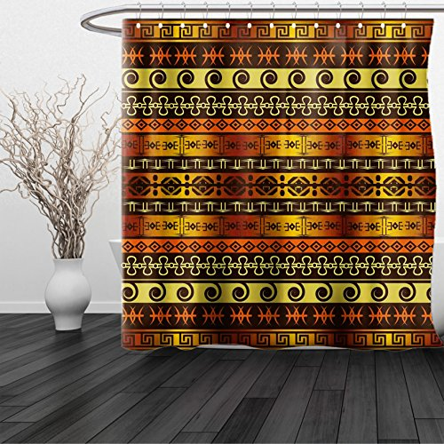 HAIXIA Shower Curtain Primitive African Indigenous Motifs with Ethnic Ornament Traditional Tribal Figures Print Queen Full Brown Yellow