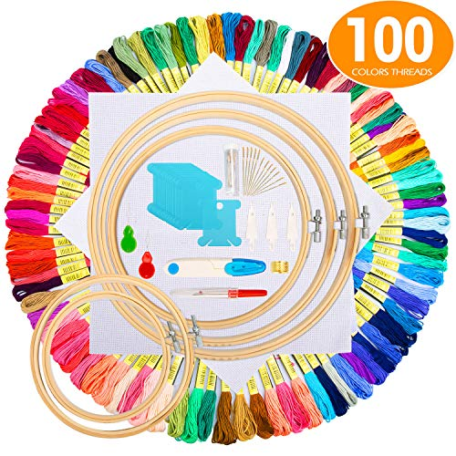 Embroidery Starter Kit,100 Color Threads,5 PCS Bamboo Embroidery Hoops,2 PCS 11.8 inches Aida Cloth,and Cross Stitch Embroidery Needle Point Kit Beginner Supplies (Cross Stitch Big)