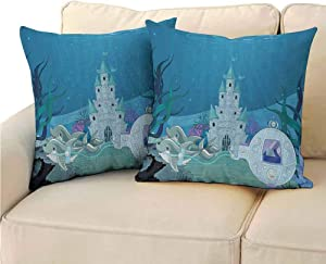 Ocean Pillowcase Lightweight, Fairytale Mermaid Castle with Dolphins Moss Fish Sun Beams Art Print for Sofa Couch Bed Chair (2 PCS, 24x24 Inch) Turquoise Light Blue Teal