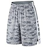 NIKE Men's Elite Stripe Camo Basketball Shorts (Cool Grey/Wolf Grey/White, Large)