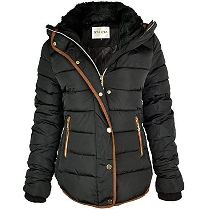 6b1f36ce523c Fashion Thirsty WOMENS LADIES QUILTED WINTER COAT PUFFER FUR COLLAR HOODED  JACKET PARKA SIZE NEW  Amazon.co.uk  Clothing