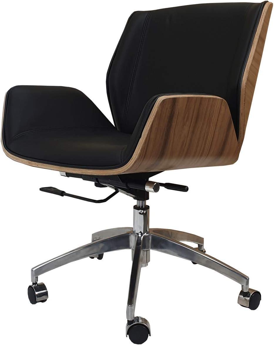 Designer Office Chair Walnut Wood Black Leather Low Back Amazon De Burobedarf Schreibwaren
