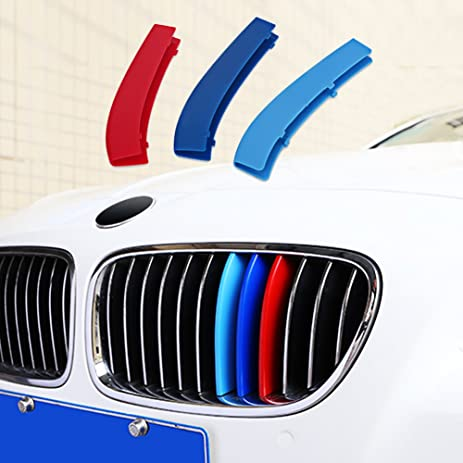 Amazoncom VANJING MColored Stripe Grille Insert Trims For BMW - Bmw m colored kidney grille stripe decals