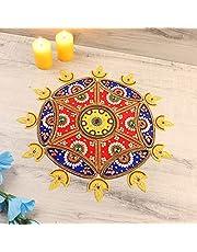 Itiha 12 Diya Rangoli Indian Decor for Wall, Floor & Table Decoration for Christmas and Diwali - 25 Piece Handmade(15 inches)