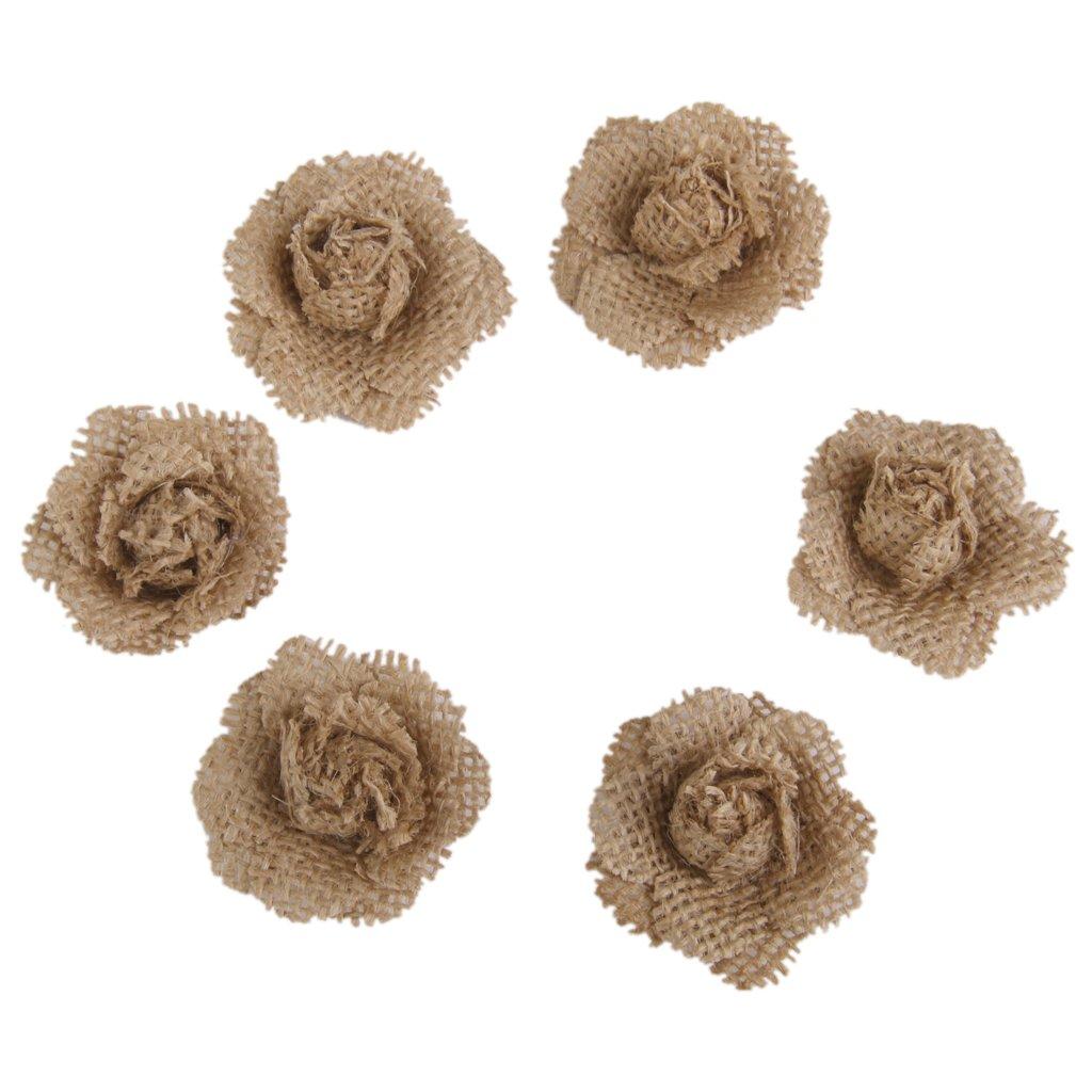 6pcs Flores Arpillera Yute Artesanal para Decoraci/ón Boda