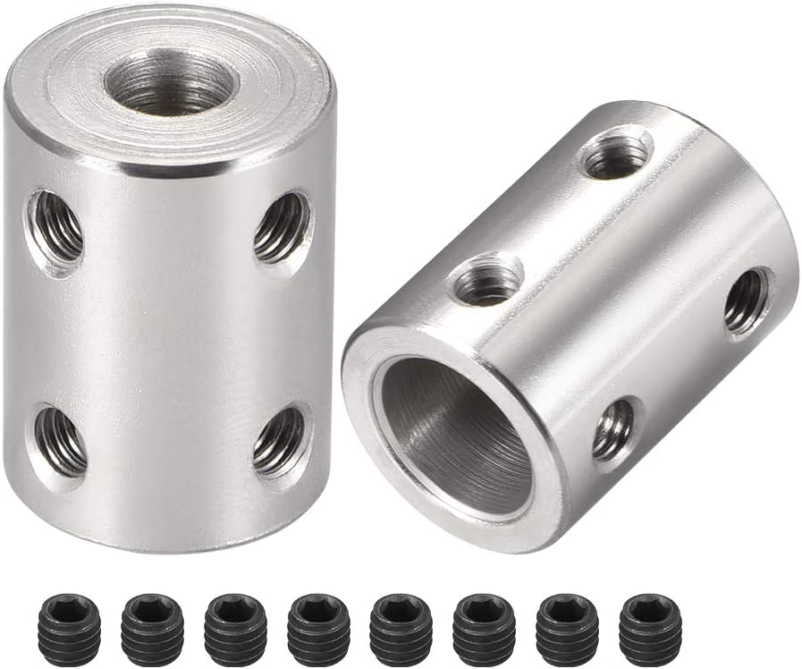 uxcell Shaft Coupling 8mm to 8mm Bore L22xD14 Robot Motor Wheel Rigid Coupler Connector Silver Tone