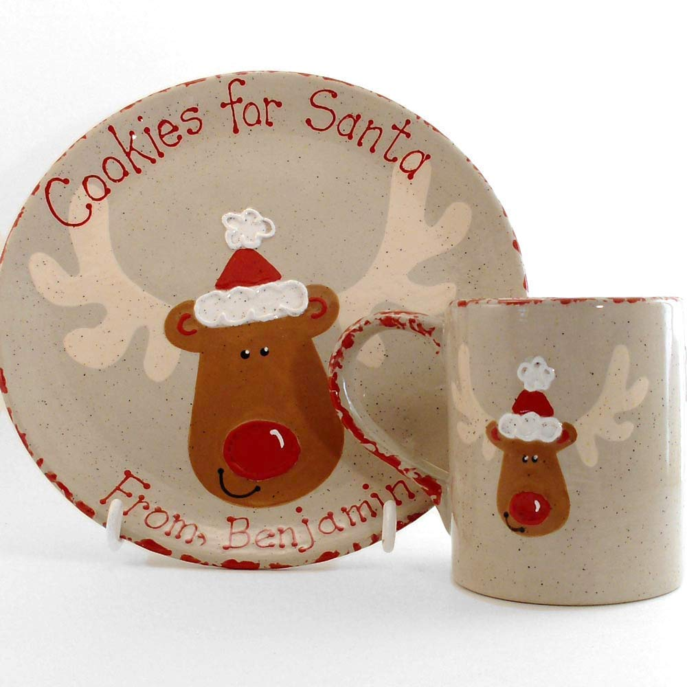 Rudolph Cookies for Santa Plate Personalized Ceramic Christmas Eve Cookie Dish Set