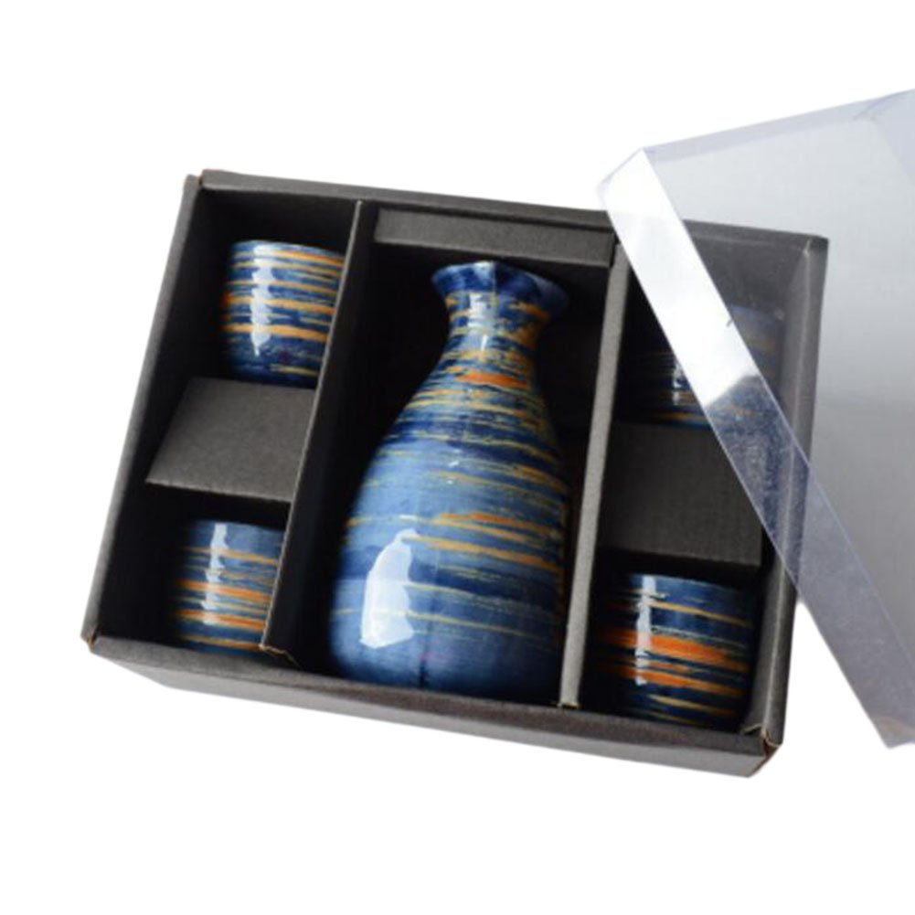 5 PCS Japanese Liquor Sake Set Porcelain Traditional Ceramic Cups Crafts Temperature Wine Glasses-A20 Black Temptation