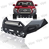 VIJAY Texture Black Full-Width Front Bumper w/Winch Plate + 5 LED Lights + D-Ring fit 2016-2019 Tacoma Unlimited