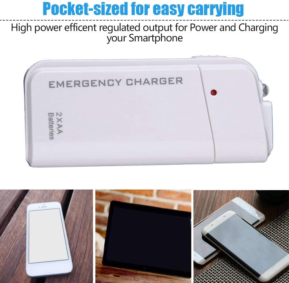 UnitedCAheart Universal Portable USB Emergency 2 Aa Battery Extender Charger Power Bank Supply Box for iPhone Mobile Phone Mp3 Mp4 Black White Battery E