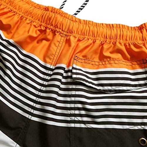 Coconut Herren Strand Shorts Gestreifte Trunk Patchwork-elastische Kordelzug Bademode RZyOm9