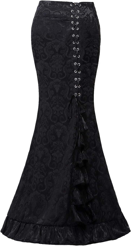 Taiduosheng High Waist Vintage Bodycon Long Lace Mermaid Skirt Ruffled Steampunk Skirt Fishtail Evening Party Dress