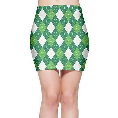 865a60baffc QG ZZX Women Green White Argyle Stretch Miniskirt Party Sexy Stretchy  Bodycon Skirt at Amazon Women s Clothing store