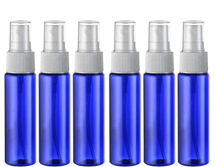 6pcs 30 ml/1oz azul botella de plástico con negro/transparente/blanco Fine