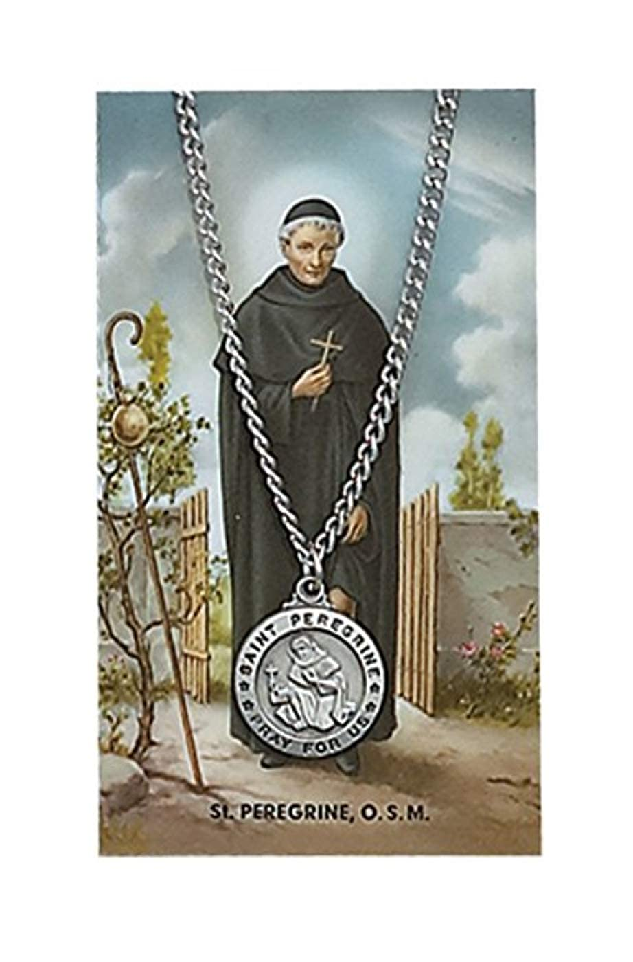 ced135fdf49 Amazon.com: Saint Peregrine 3/4-inch Pewter Medal Pendant Necklace with Holy  Prayer Card: Jewelry