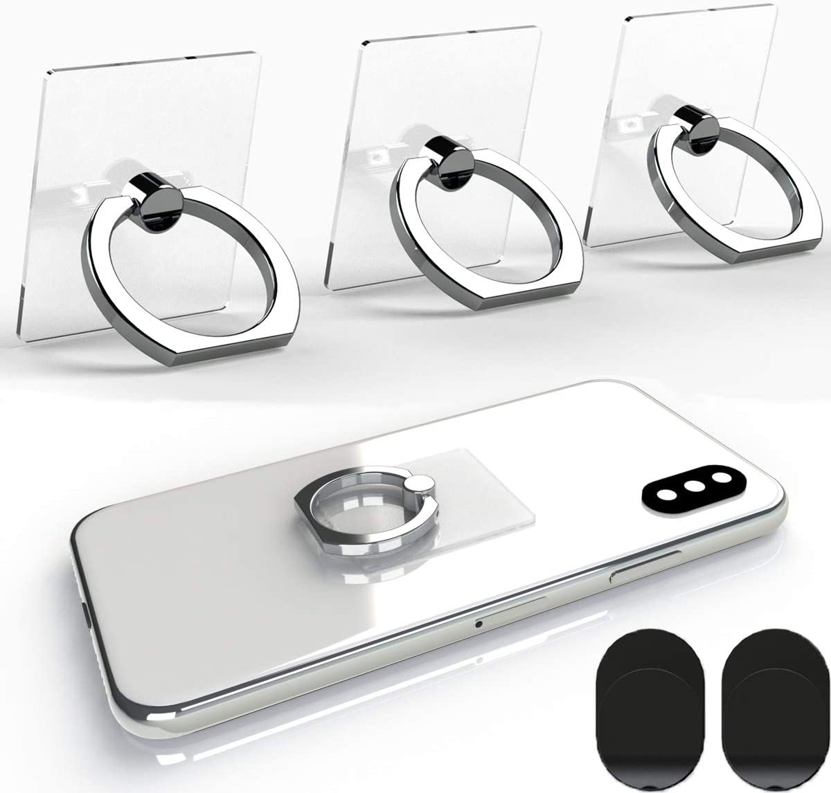 Attom Tech Transparent Phone Ring Holder Grip 360 Degree Free Rotation, Clear Cell Phone Finger Ring Kick-Stand for - for iPhone X 8 7 Plus 6S 6 5s 5 SE, Galaxy S9 S8 S7 S6 Edge, Note 8 5 4(Silver)