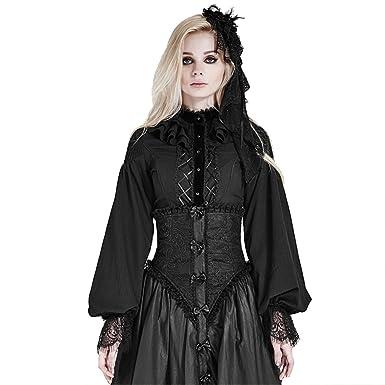 a991d278044 Punk Gothic Lolita Women Shirts Puff Sleeve Chiffon Blouse Slim Fit Black  Lace Blouse Shirts (