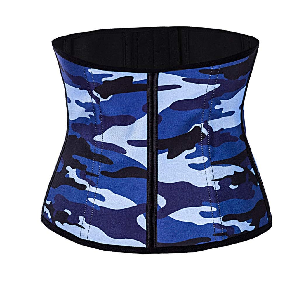 Allywit Women Camouflage Waist Trainer Underbust Corset Short Torso Mesh Body Shaper