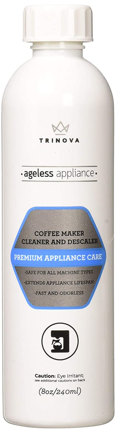 Descaling Solution Coffee Maker Cleaner and Descaler, Single Cup, Slow Drip, Automatic or Pod Brewing Machines such. 8oz TriNova
