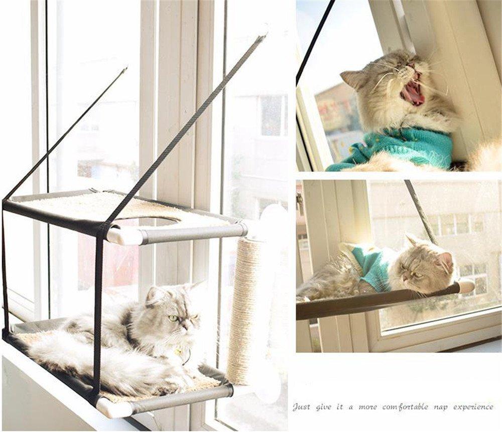 Hamaca Para Gatos, Cama Colgante Para Mascotas Perch Montado En La Ventana Sunny Seat Cómodo Sofá Cómodo Para Licra Con Grandes Ventosas Para Cargar Hasta 33 Lb 60 X 31 Cm Negro,Singlelayer GuoyajfSHOP