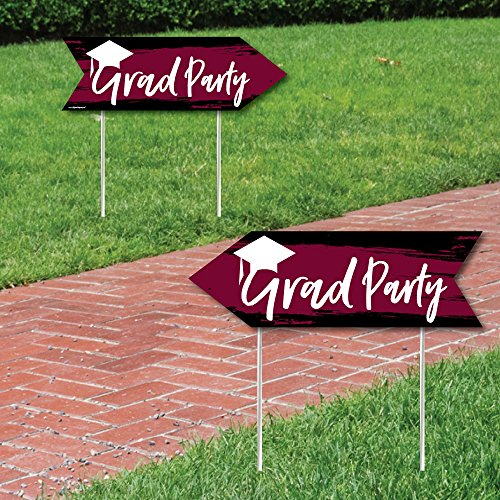 Maroon Grad - Best is Yet to Come - Burgundy Graduation Party Sign Arrow - Double Sided Directional Yard Signs - Set of 2 -