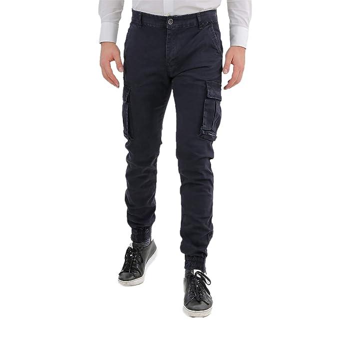 3239b1e02dff6e Pantaloni Uomo Cargo Con Elastico Alle Caviglie Blu Slim Fit Invernali Tasche  Laterali Militari Con Tasconi