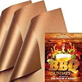SKYBD Copper Grill Mat (Set of 3) Non-Stick BBQ Grill&Baking Mat...