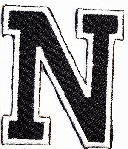 black N letter patch Symbol Jacket T-shirt Patch Sew Iron on Embroidered Sign Badge Costume. 2 x 2 inches.