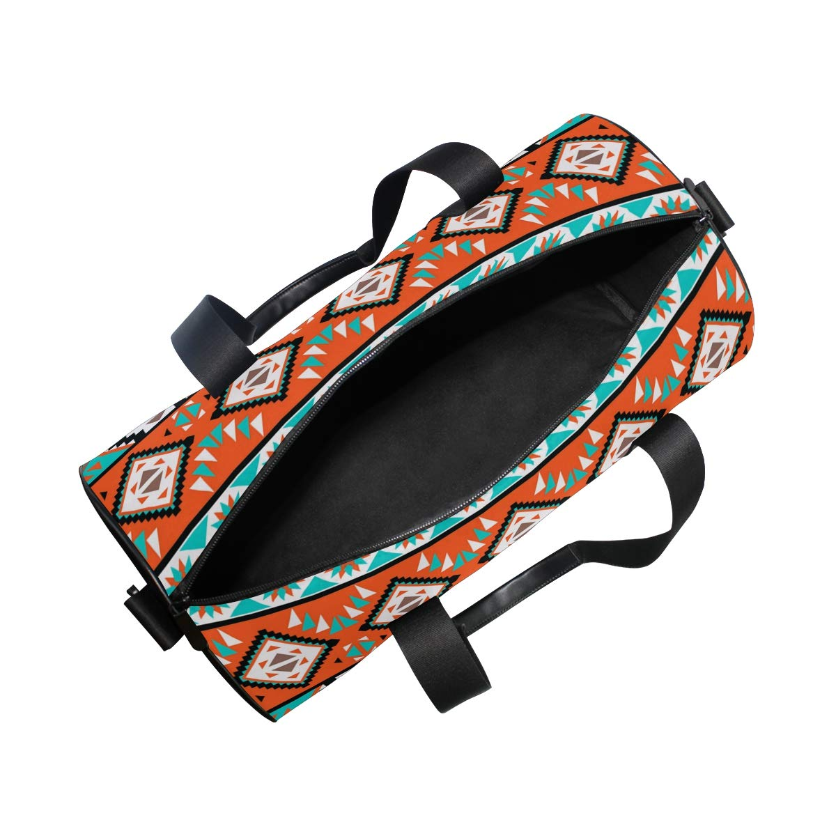 Sports Gym Duffel Barrel Bag Colorful Navajo Pattern Aztec Travel Luggage Handbag for Men Women