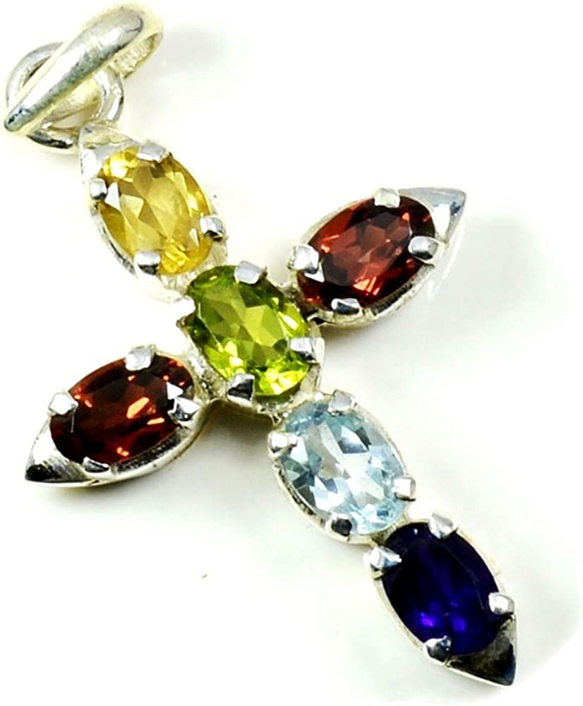 55Carat Pendant Natural Multi Color Gemstone Necklace Indian Handcrafted Sterling Silver Fashion Pendant