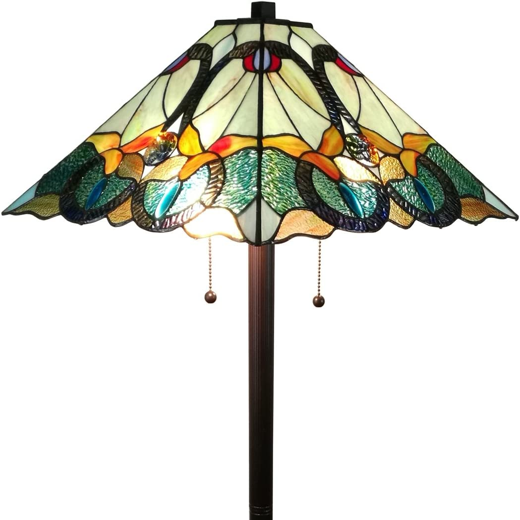 Amora Lighting AM255FL17 Tiffany Style Mission Standing Floor Lamp 63 Tall Stained Glass Yellow Green Brown Antique Vintage Light Decor Bedroom Living Room Reading Gift