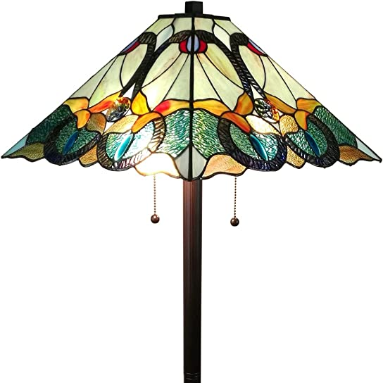 Amora Lighting AM255FL17 Tiffany Style Mission Standing Floor Lamp 63″ Tall Stained Glass Yellow Green Brown Antique Vintage Light Decor Bedroom Living Room Reading Gift