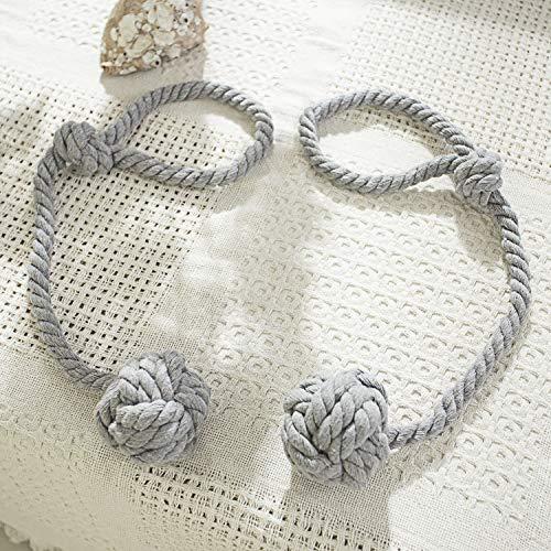 Cord Backs Tie (PRAVIVE Window Curtain Tie Backs, Decorative Hand Knitting Cord Curtain Tie Ropes/Holdbacks/Tiebacks for Indoor Outdoor Drapes, 2 Packs, Grey)
